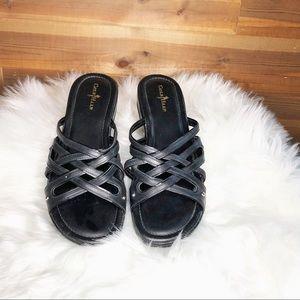 Cole Haan Black Wedge Heel Sandals With Nike Air